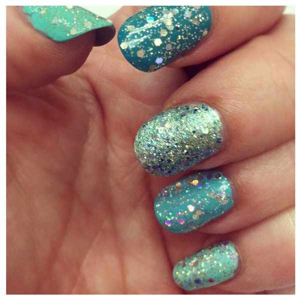 Green Ombre Glitter Nails