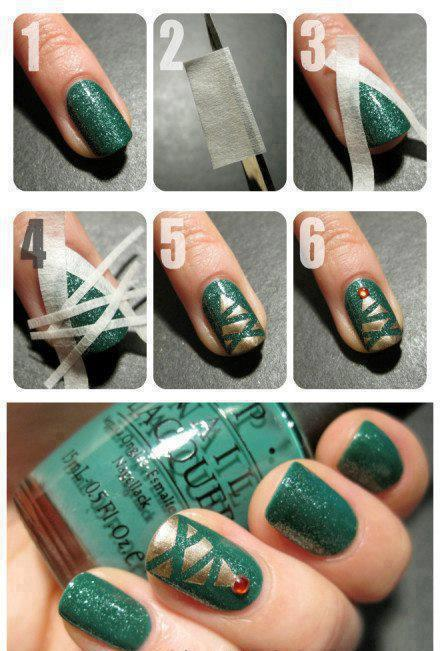 Green Scotch Nail Art