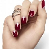 Half Moon Burgundy Nail Design