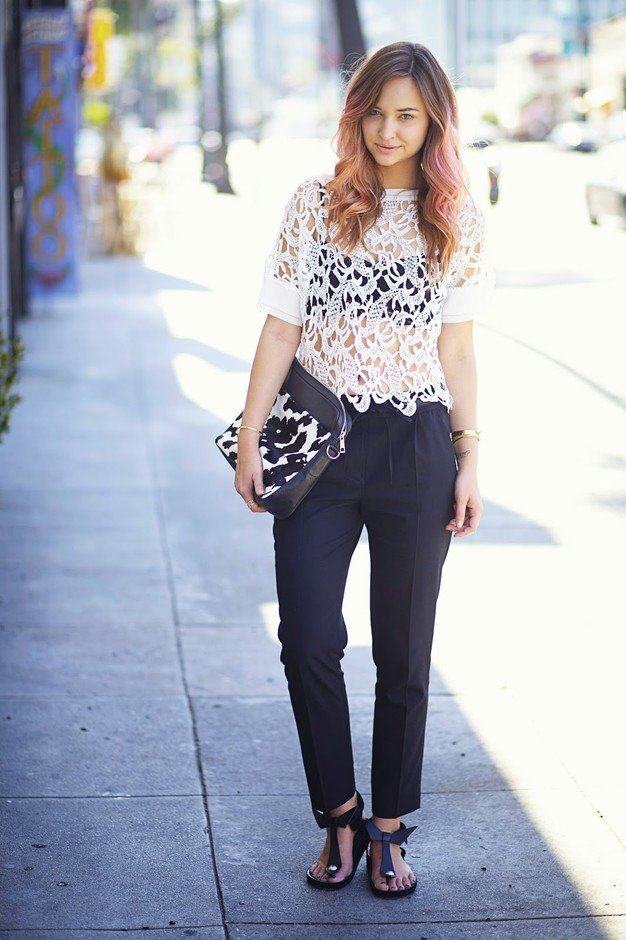 Lace Sheer Top with Black Baggy Pants