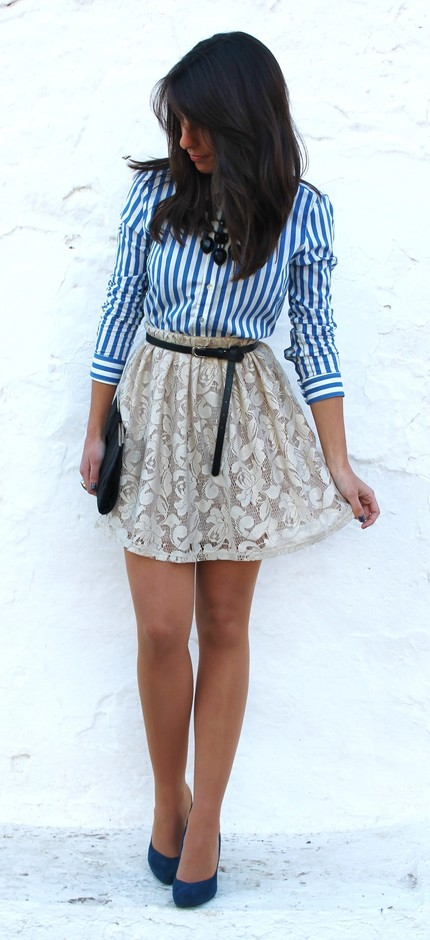 Lace Short Skirt with Stripe Blouse