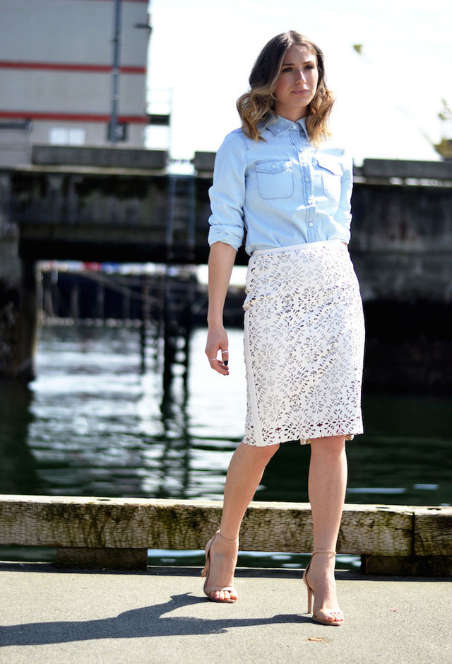 Lace Skirt Outfit Idea with a Blouse
