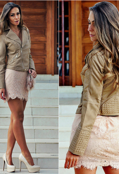 Lace Skirt Outfit with Leather Jacket