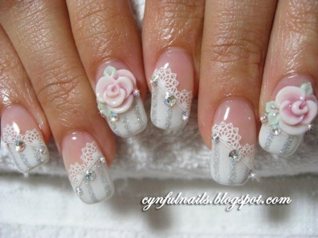 Lace and Rose Nail Art