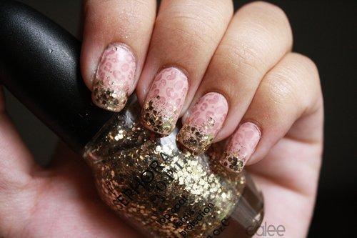 Leopard Print Embellished Nails