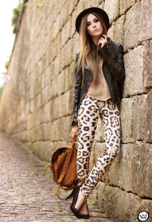 Leopard Printed Jeans with Black Moto Jacket