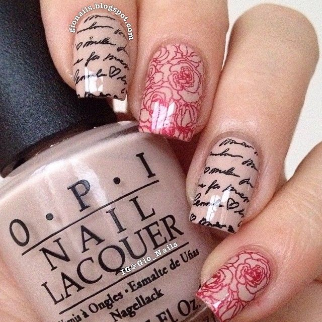 Letter and Rose Nails