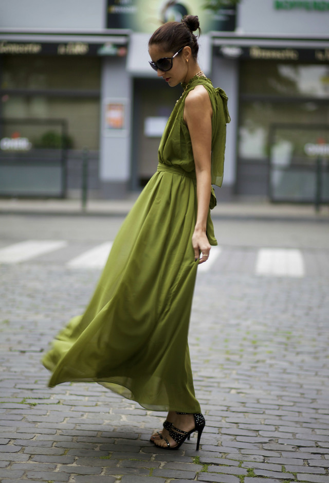 Long Chiffon Dress in Green