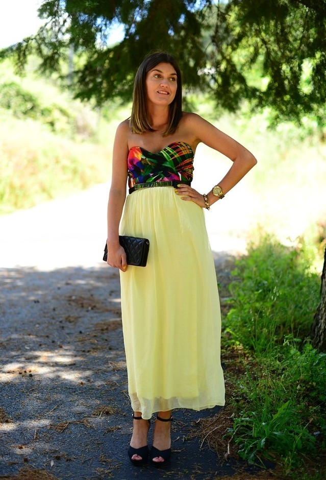 Long Dress and Black Wedges
