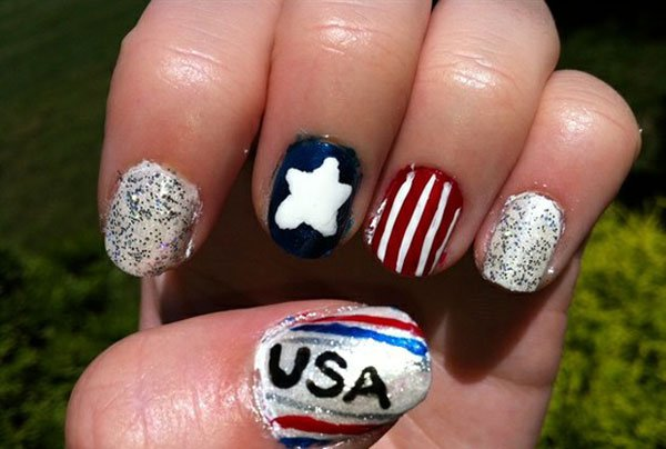 Lovely American Flag Inspired Nail Design