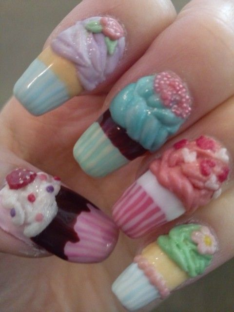Lovely Cupcake Nails for Kids - 14 Awesome Cupcake Nail Art Designs For Girls - Pretty Designs