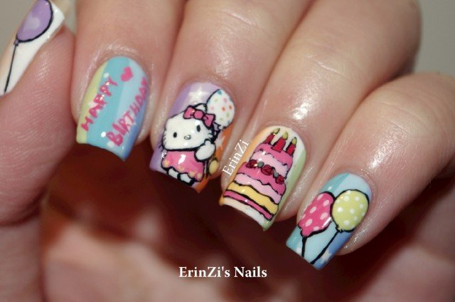 14 lovely nail designs for your kids birthday party pretty designs lovely hello kitty nail design prinsesfo Images