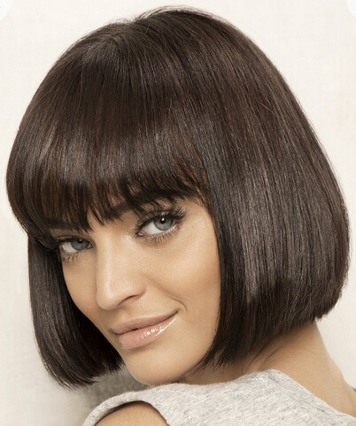 Medium Straight Haircut with Blunt Bangs