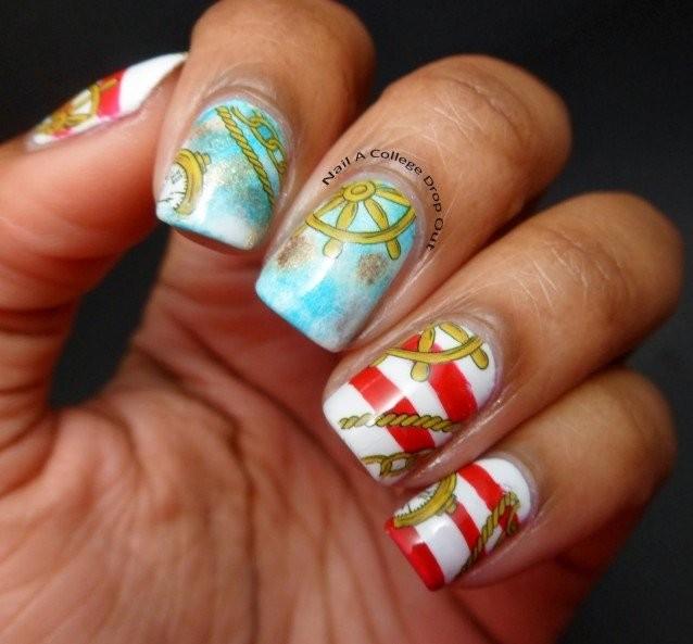 Mint Nautical Nail Art