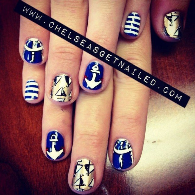 14 Refreshing Nautical Nail Art Designs for 2014 - Pretty Designs