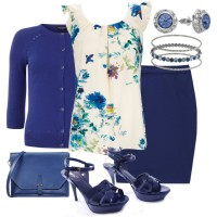 Navy Blue Outfit Idea with Floral Blouse