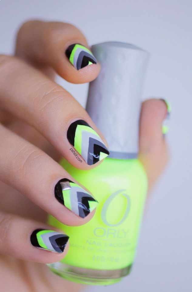 Neon Chevron Nails