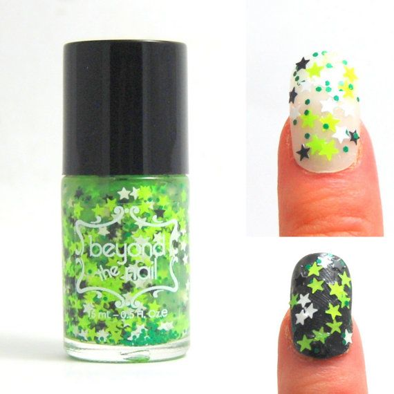 Neon Green Star Nails