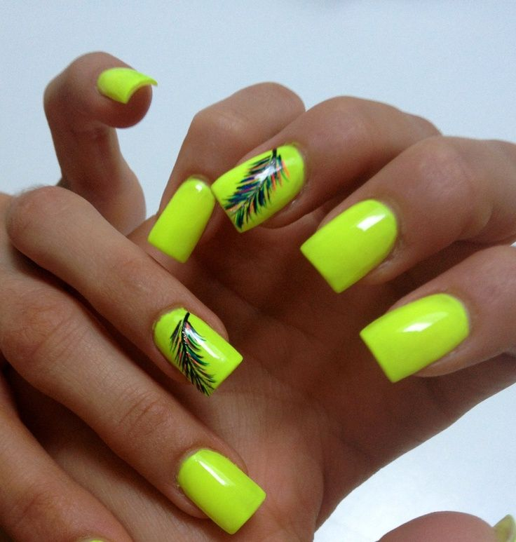 Neon Nail Design With Feathers - 17 Unique Neon Nail Designs For 2017 - Pretty Designs