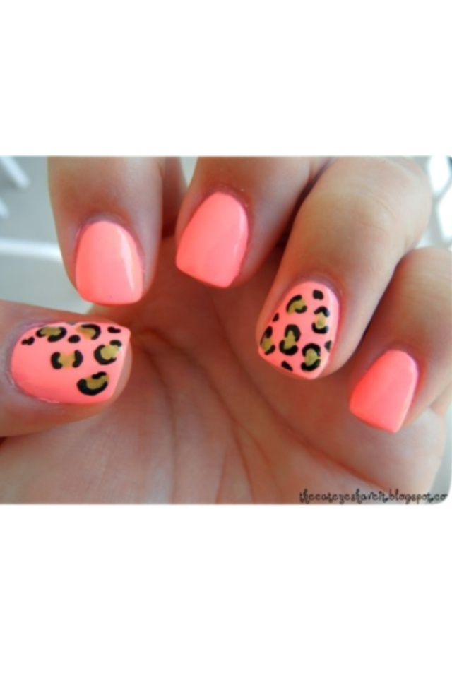 Neon Nail Design With Leopard Print