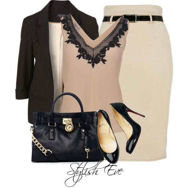 Neutral Pencil Skirt Outfit Idea