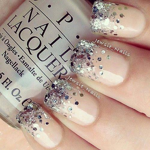 16 glamorous glitter nail art designs pretty designs nude glitter nails prinsesfo Images