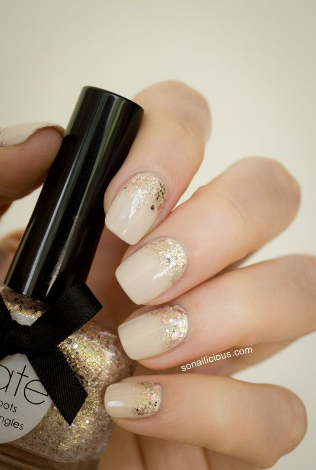 Nail art to try nude nails pretty designs nude with golden glitter prinsesfo Choice Image