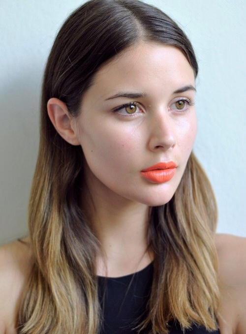 Orange Lips With Flawless Skin