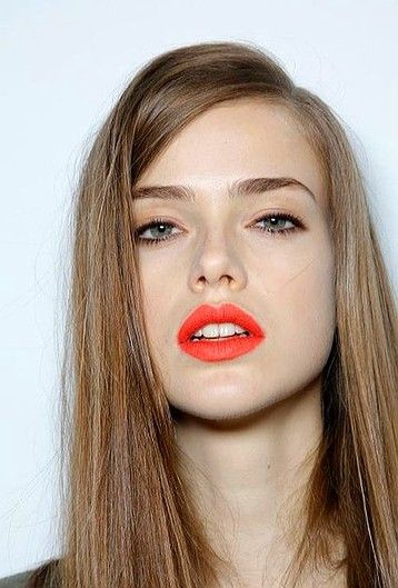 Orange Lips With Natural Eye Makeup
