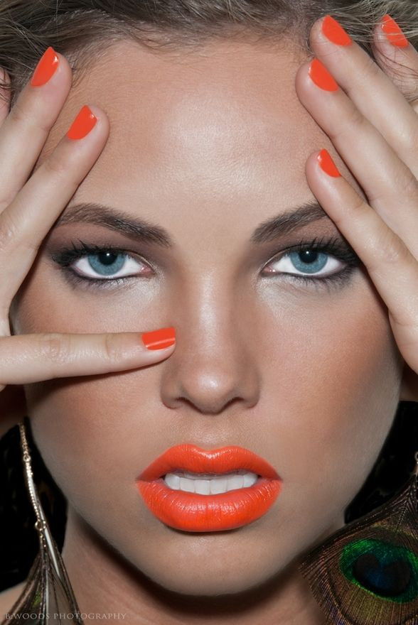 Orange Lips and Nails