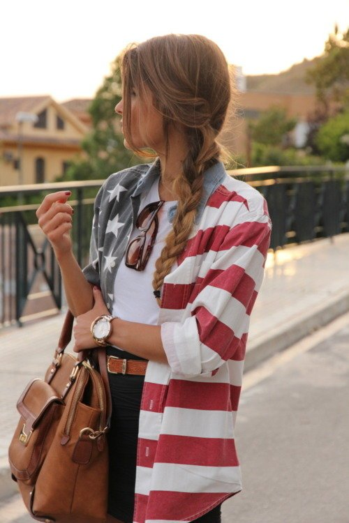 Over-sized Blouse with Flag Prints