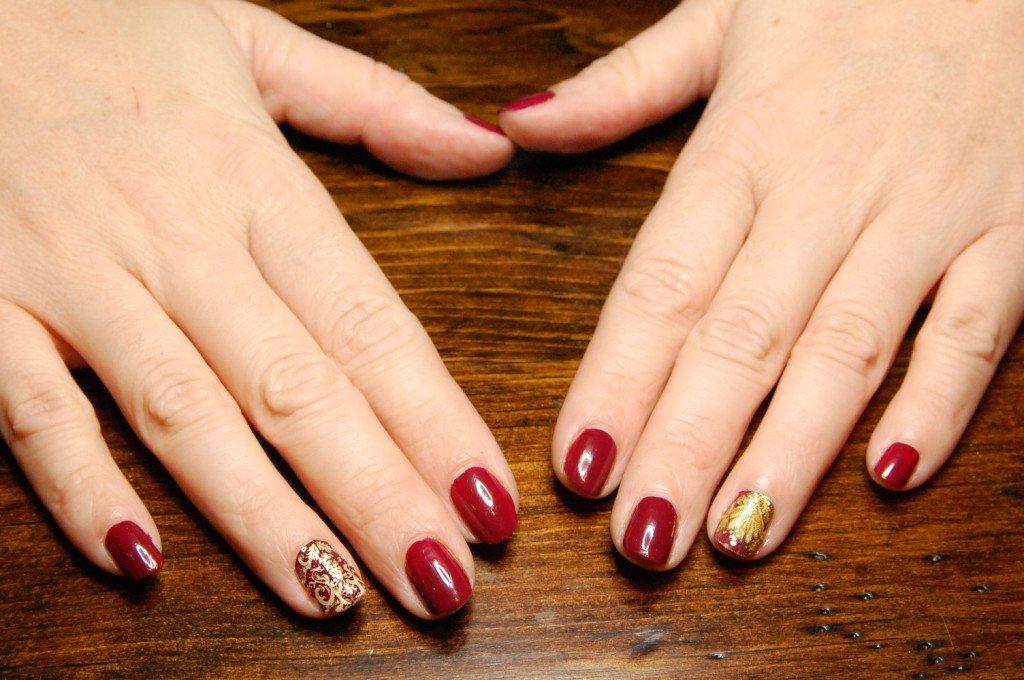 Patterned Burgundy Nail Design