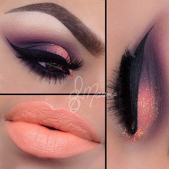 Peach Lips With Shimmery Eyeshadow