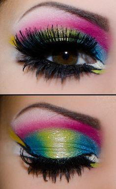 Peacock Inspired Eyes - Neon Makeup Look