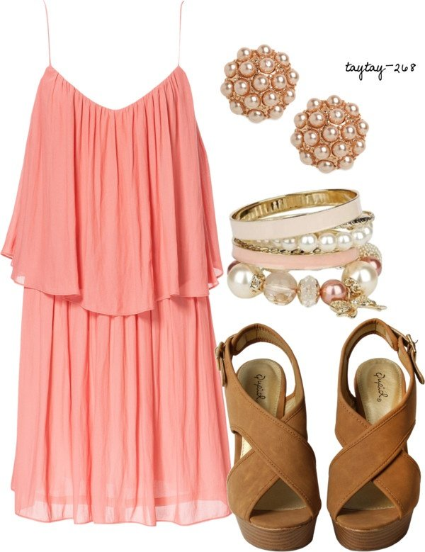 Pink Dress Outfit with Pearl Accessorites