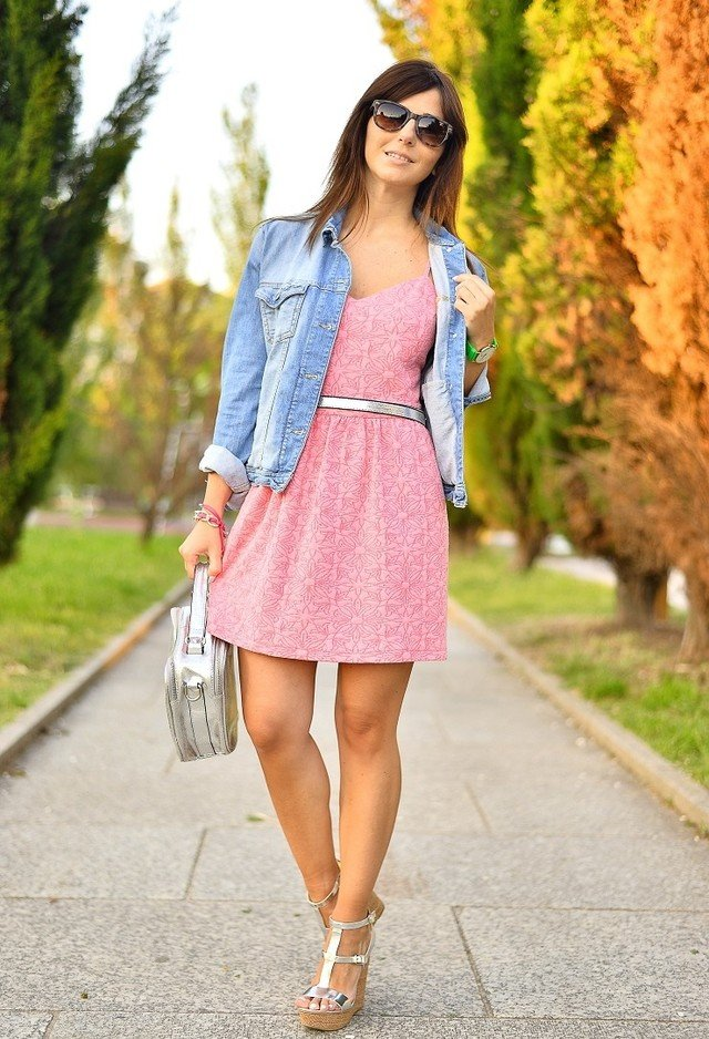Pink Dress Outfit with Wedges