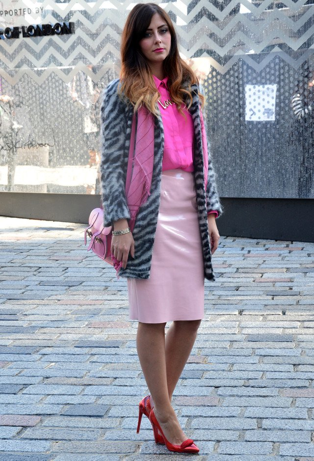 Pink Outfit Idea with Gray Coat