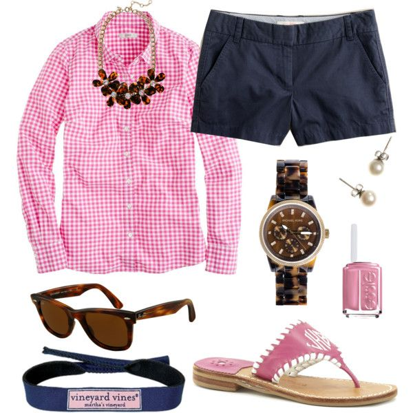 Pink Plaid Outfit Idea with Shorts
