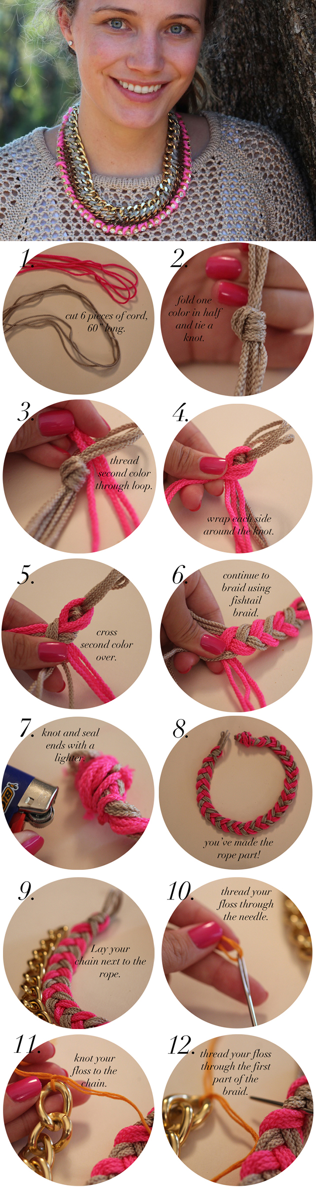 Pink Rope Necklace Tutorial