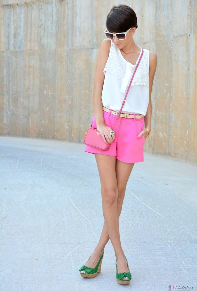 Pink Shorts and Green Wedges