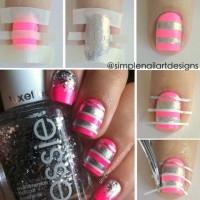 Pink and Sliver Stripe Nails