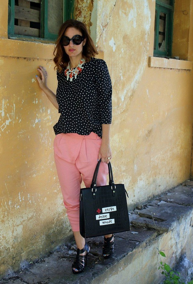 Polka Dot Chiffon Blouse with Pink Baggy Pants