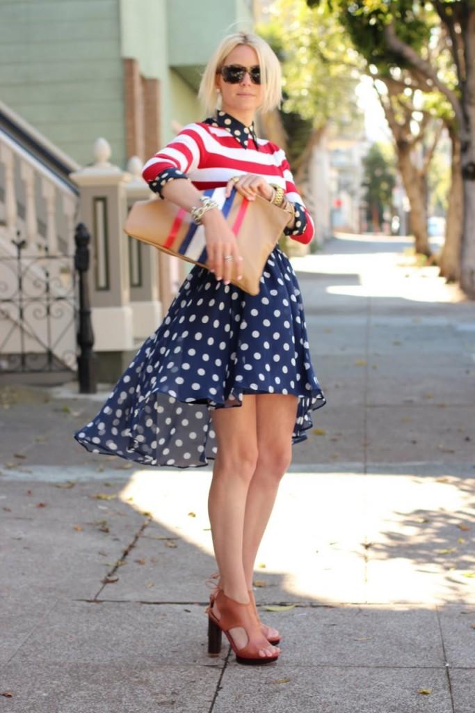 Polka Dot Dress with Stripe Shirt