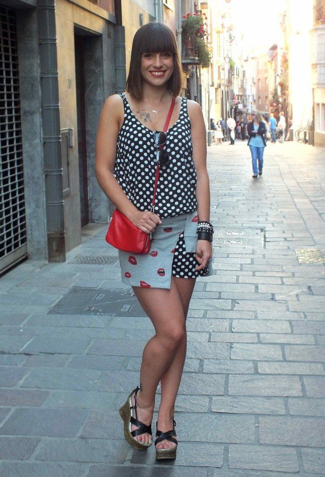 Polka Dotted Outfit Idea with Wedges