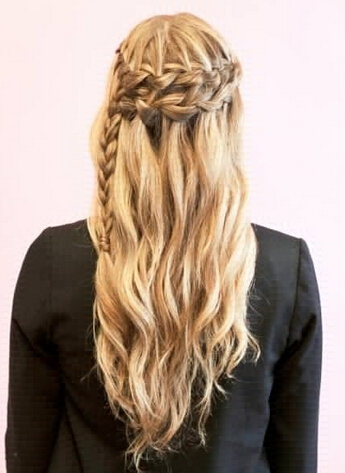 Pretty Braided Curly Hairstyle