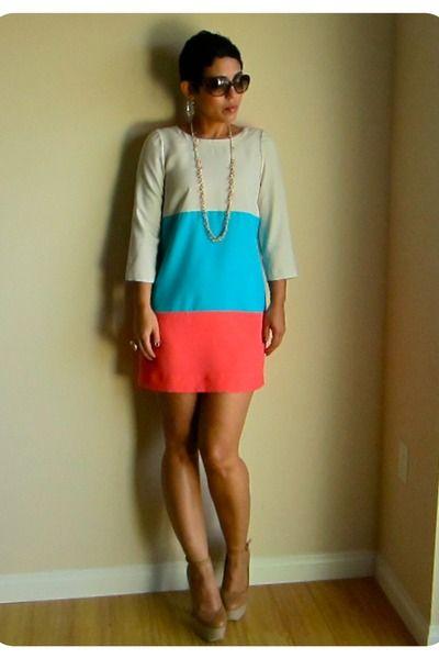 Pretty Colored Block Dress