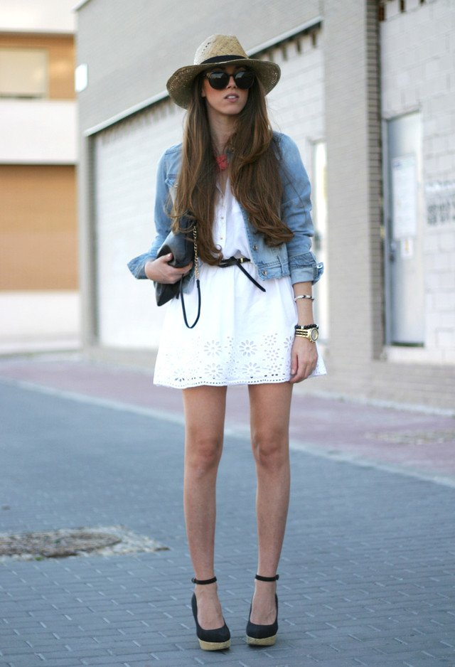 Pretty Denim Jacket Outfit with Black Wedges