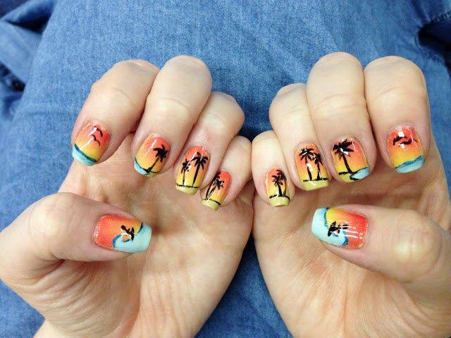 Pretty Ocean Nails