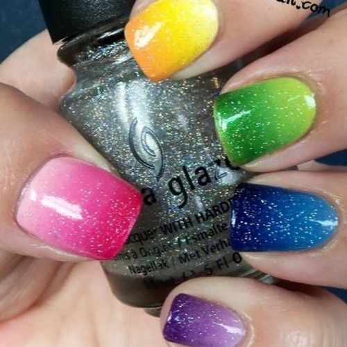 Pretty Rainbow Nails