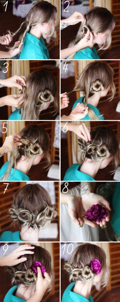 Pretty Twisted Updo Hairstyle Tutorial